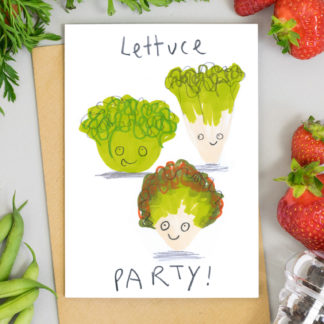 Lettuce party illustrated birthday card