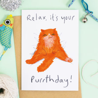 Happy Purrthday Card Ginger Cat Birthday Card