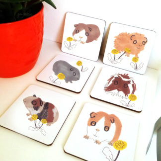 set of six guinea pig coasters