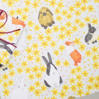 bunny rabbits and daffodils gift wrap