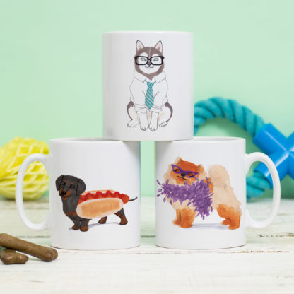 jo clark design mug - dacshund, husky, pomeranian