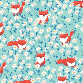 foxes and daisies illustrated gift wrap