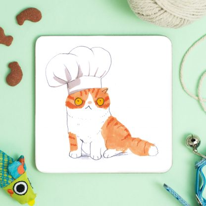cat wearing chef hat coaster
