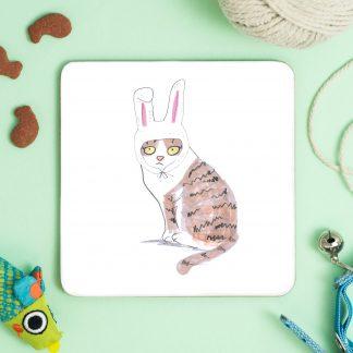 cat in bunny ears coaster