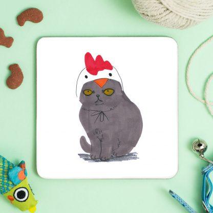 Cat In Chicken Hat