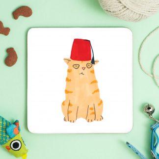 Cat in fez coaster