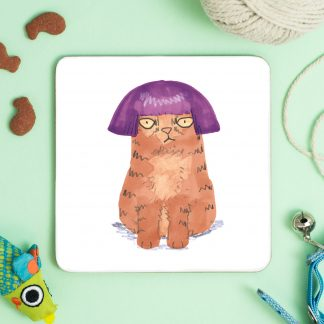 cat in purple wig coaster