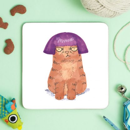 cat in purple wig coaster