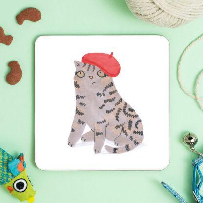 Cat In red beret coaster