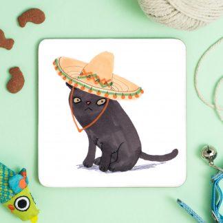 Cat in sombrero hat coaster