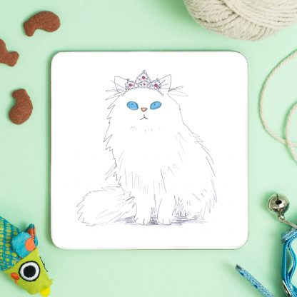 White Cat in Tiara coaster