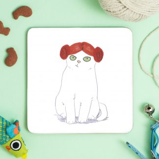 white cat in purrincess leia wig coaster