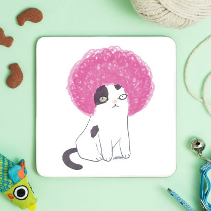 cat in pink afro wig coaster