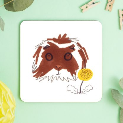 Guinea Pig Brown & White Fluffy Coaster