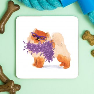 pomeranian dog in a feather bower coaster