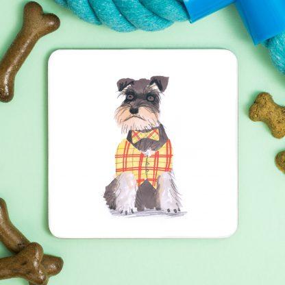 Schnauzer Dog in waistcoat coaster