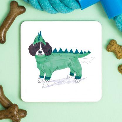 Dog in dragon costume coaster