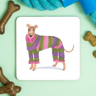 Greyhound in a onesie coaster