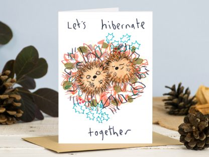 hedgehog couple hibernating illustration