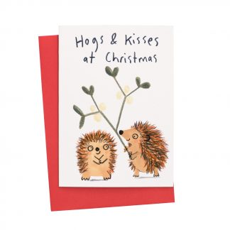 Hogs and Kisses at Christmas - Hedgehogs with mistletoe