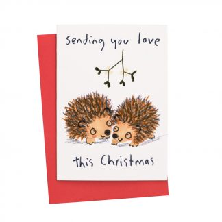 Sending You Love Hedgehogs kissing under mistletoe Christmas Card