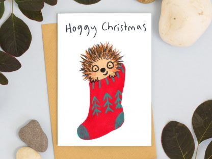 Hoggy Christmas Happy Christmas Hedghog in Christmas stocking Card
