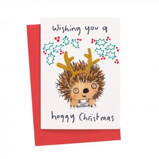 Hedgehog with antlers and holly Christmas Card