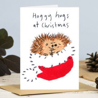 Hedgehog hugs Christmas card