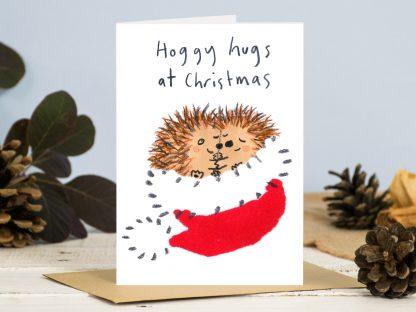 Hedgehog hugs Christmas card