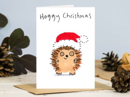 Hoggy Christmas / Happy Christmas hedgehog in santa hat card