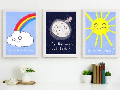 sunshine moon rainbow prints