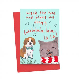 Cat Ans Dog Christmas Card