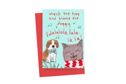 Cat Ans Dog Christmas Card