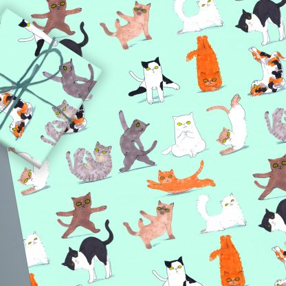Yoga cats wrapping paper