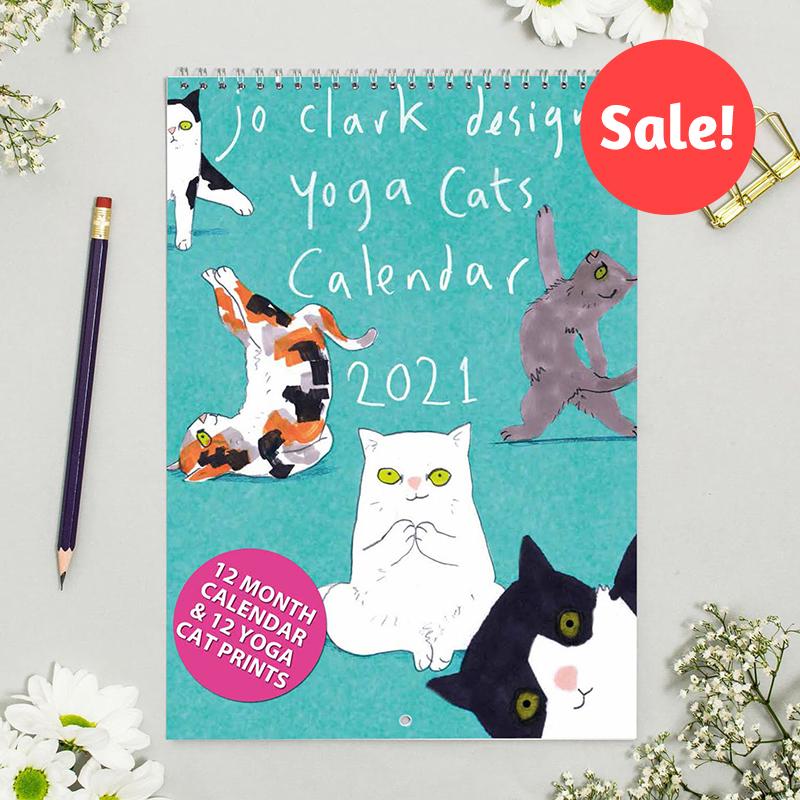 yoga cats calendar sale