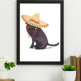 black cat in hat print