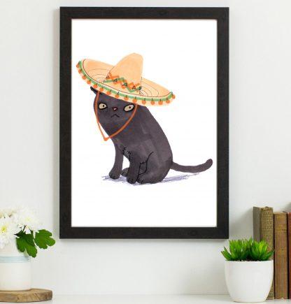 black cat in hat print