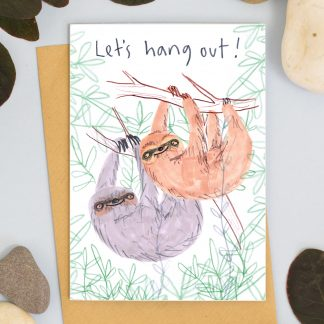 lets hang out sloth card