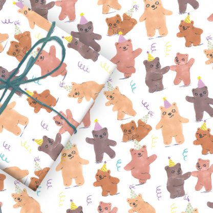 bear birthday party wrap
