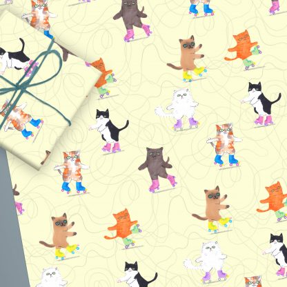 roller disco cats gift wrap