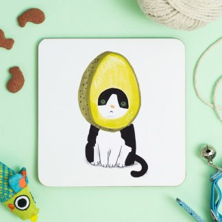 cat in avocado hat coaster