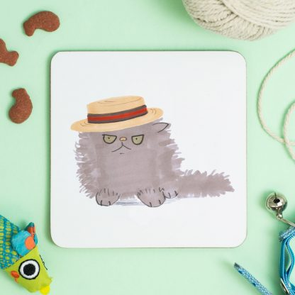 Cat in boater hat
