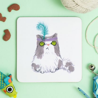 Cat in feather hat coaster