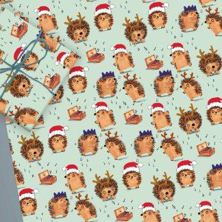 hedgehog Christmas gift wrap